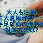 大人も注意!三大夏風邪の一つ手足口病の症状や対応方法は?